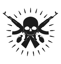 Skull 2 grenades 2 crossed assault rifles emblem vector image
