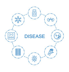 8 disease icons vector