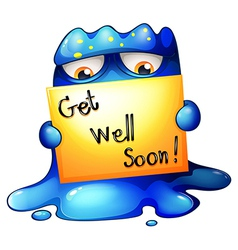 A blue monster holding a get-well-soon card vector