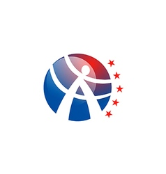 A letter round people active star logo vector