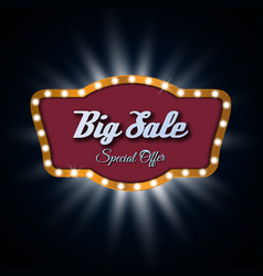 Big sale light frame retro billboard vector image