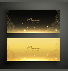 black and golden ornamental decoration banners vector image