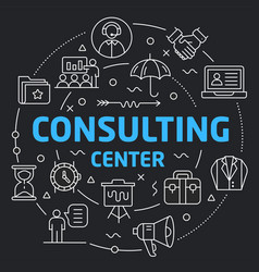 black line flat circle consulting vector image