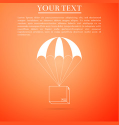 box flying on parachute icon on orange background vector image