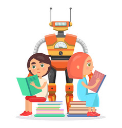 Boy and girl read with big robot vector