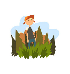 boy enjoying summer vacation in countryside vector image