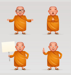 Buddhist cute monk traditional asian buddhist vector