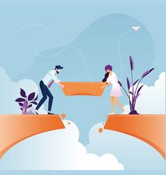 Business team building bridge over cliff vector