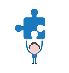 businessman holding up jigsaw puzzle piece vector image