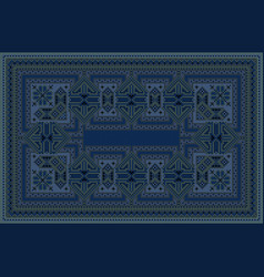 Carpet with oriental ornament in blue shades vector