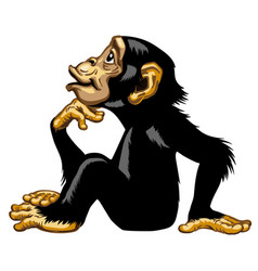cartoon chimp in thinker profile vector image