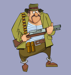Cartoon frightened man in hunter outfit with gun vector