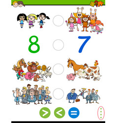 Cartoon greater less or equal game vector