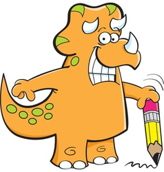 Cartoon Triceratops Holding a Pencil vector image vector image