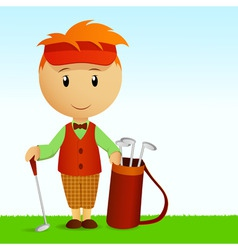 cartoon young man with bag of golf clubs vector image vector image