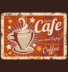 city cafe coffee shop rusty metal plate vector image