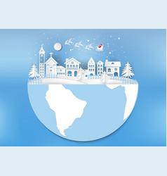 city for christmas with snowflake and santa vector image