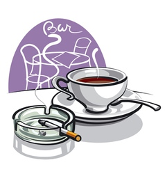 Coffee and cigarette vector