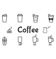 Coffee and cocktails outline elements and symbol vector image