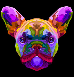 Colorful french bulldog on pop art style vector