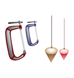 Colorful Set of Plumb Bob and Clamp vector
