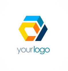 colorful shape polygon business logo vector image