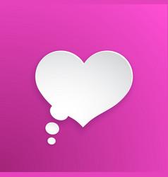 comic speech bubble heart shape in paper version vector image