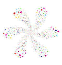 Confetti stars spiral flower with six petals vector