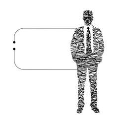 Continuous line businessman vector