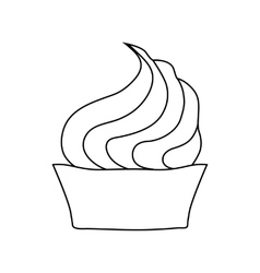 Cupcake with cream icon in outline style vector