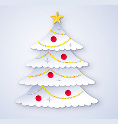 cut paper style christmas tree vector image