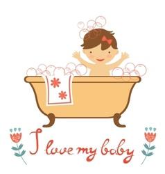 Cute baby having a bath vector image vector image