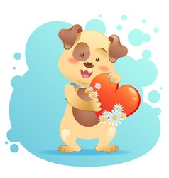 Cute toy Dog pet isolated holding heart vector image vector image