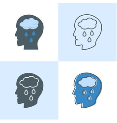 Depression concept icon set in flat and line vector