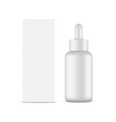 Dropper bottle with packaging box mockup vector