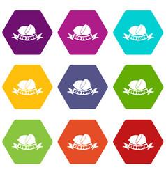 eco food icons set 9 vector image
