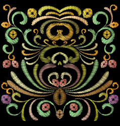 Embroidery baroque pattern colorful tapestry vector