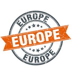 Europe red round grunge vintage ribbon stamp vector