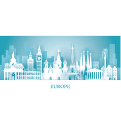 europe skyline landmarks in paper cutting style vector image