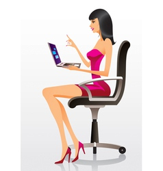 Fashion model presenting a new laptop vector