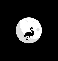 flamingo and moon design vector image
