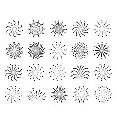 flat fireworks festive christmas salute new year vector image