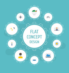Flat icons vlog laptop quadcopter and other vector