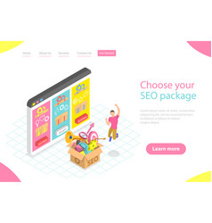 flat isometric landing page template seo vector image