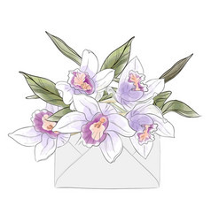 flower letter with watercolor orchids elegant vector image