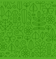 Green flat line plant leaf icon seamless pattern vector