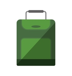 Green suitcase travel equipment shadow vector