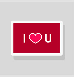 greeting card i love you with text and heart vector image
