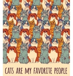 Group cats and funny sign color vector