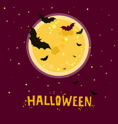 halloween bats flying in night with a full moon vector image